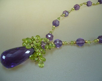 Huge Amethyst Briolette Peridot Wire Wrapped Gold Necklace