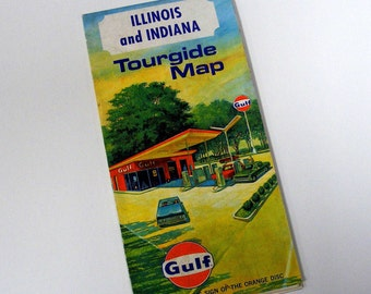 1967 Illinois and indiana tourgide map gulf service station memoribilia gas automobile driving directions