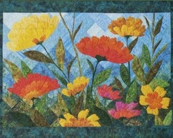 Summer Blooms Flower Applique Fourth & Sixth Designs Quilt Pattern