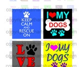 Buy 2 GET 1 FREE - Instant Download - Rescue Adopt Dog Collage Sheet - .75  x.83 inch sq for jewelry, pendants, hair bows, scrapbooking 345S
