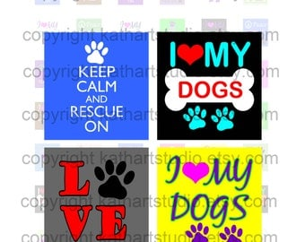 Instant Download - Rescue Adopt Dog Collage Sheet - .75  x.83 inch sq for jewelry, pendants, hair bows, scrapbooking 345S