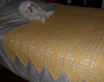 Crocheted Afghan - Blanket - Throw - Bedspread -X Large   ''HEARTS APLENTY'' in Sunny Yellow