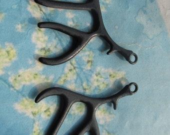 10pcs 55x40mm black  Elk dear antler/horn charms pendants