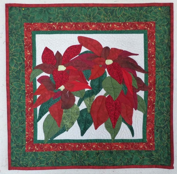 Christmas poinsettia wall hanging mini quilt hand appliqued red and green