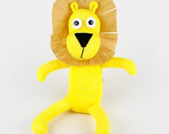 Handmade Yellow Sock Lion Stuffed Animal Doll Baby Toys Christmas Gift New year Gift