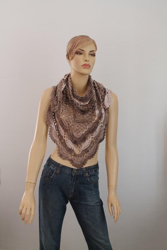 Cream Biege Brown Triangular  Lace  Cotton Crochet Shawl  - Scarf - Flower Pin - Winter Accessories - Ready to ship