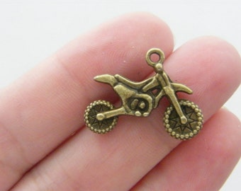 6 Motorbike charms antique bronze tone BC22