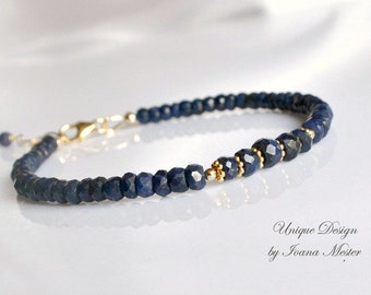 Genuine sapphire bracelet, gold filled sapphire bracelet, blue and gold bracelet, september birthstone