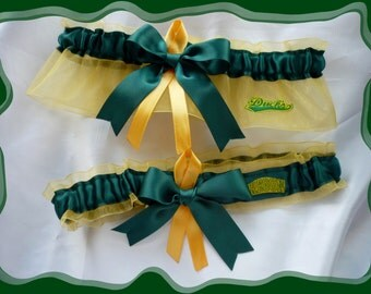 Yellow and Green Ribbon Wedding Garter Set Made with Oregon Ducks Fabric
