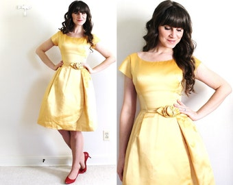 1950s Dress / 50s 60s Gold Dress / 50s Gold Party Dress