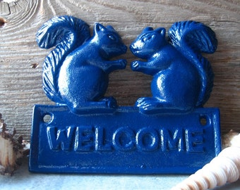 Cast  Iron Squirrel Welcome Sign - Plaque Painted  in Navy Blue