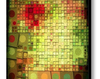 LOTSA DOTS large format canvas giclee wrap - vibrant colors - red orange green yellow gold - contemporary abstract wall decor
