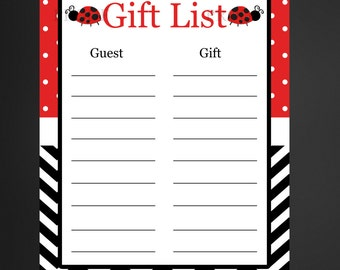 Ladybug Birthday or Baby Shower Gift List/Ladybug birthday gift list/Ladybug birthday Baby Shower Gift List/INSTANT DOWNLOAD