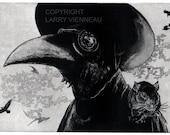 Raven artwork , Raven, crow, Plague Doctor,  Etching 5 x 7inch 2010