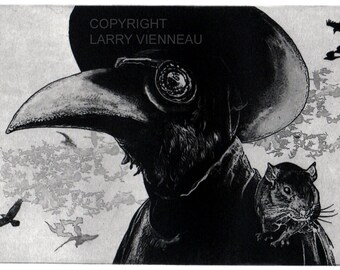 Raven artwork , Raven, crow, Plague Doctor,  Etching 5 x 7inch 2010
