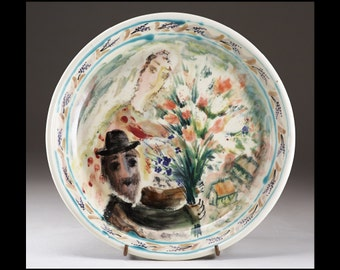 PRICE DROP - Bride and Groom with Bouquet  - Majolica Ceramic Plate  - Handmade and Hand Painted by Boris Vitlin