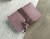 handstitched leather card holder - mauve pink rose - pink card holder - rose stationery, pink card case, rose card holder, rose wallet