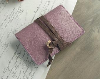 handstitched leather card holder - mauve pink rose - pink card holder - rose stationery, pink card case, rose card holder, rose wallet