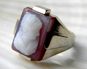 CLEARANCE was 165 Carved pink and white agate and 14k white gold Victorian cameo ring - vintage jewelry