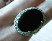 Sterling silver and black onyx or glass and paste stone Art Deco vintage statement ring