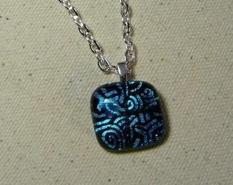Blue Green Swirl Pattern Dichroic Glass Pendant