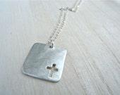 Cross silver necklace brushed matte silver - Square geometric pendant unisex style - Modern christian jewelry - Medium