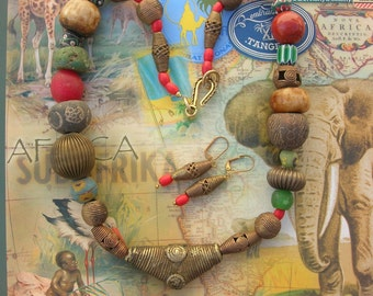 """African Bead Sampler - Spindle Whorls, Lost Wax Brass, Chevrons, Bodoms, Old """"Egg"""" Glass, Story-Telling Tribal Necklace Set by SandraDesigns"""