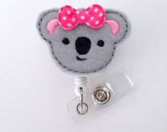 Ms. Baby Koala  - Retractable ID Badge Reel - Name Badge Holder - Pediatric Badge Reel - Nurse Badge Holder - Nursing Badge - Felt Badge
