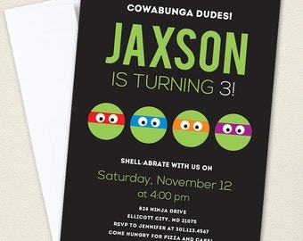 Turtle Birthday Invitations / Ninja Party Invitations - Professionally printed *or* DIY printable