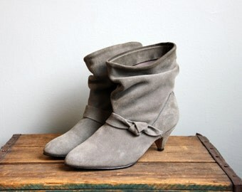 Vintage Slouch Grey Suede Knotted Kitten Heel Pointed Toe Ankle Boots- Size 7