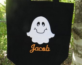Halloween treat bag//personalized treat bag//trick or treat bag//ghost treat bag/boy treat bag