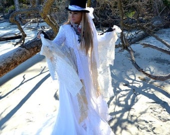 Stevie Nicks style coat, Bohemian lace duster, Romantic winter white coat dress, Boho dresses, Shabby  jacket, True rebel clothing