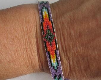 Intricately Woven Pattern Glass and Sterling Bracelet