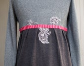 Eco clothing, Unique, OAK, Upcycled Cardigan Sweater, Grey, Pink, with black and white floral appliques, front and cuffs