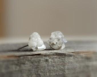 Moonstone Post Earrings / Raw Stone Studs / Moonstone Stud Earrings / Boho Studs / Everyday Hypoallergenic Earrings
