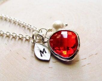 January Birthstone Necklace, Garnet Necklace, Personalized Necklace, Birthstone Jewelry, January Birthday Jewelry, Siam Red Jewel Necklace