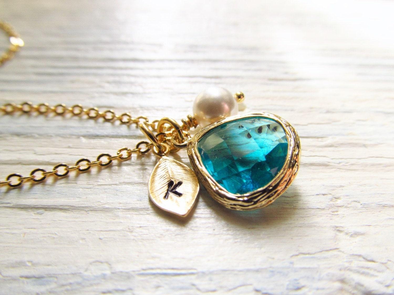december birthstone necklace blue topaz necklace gold leaf. Black Bedroom Furniture Sets. Home Design Ideas