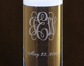 Personalized 3 Letter Monogram Wedding Floating Unity Candle and Vase