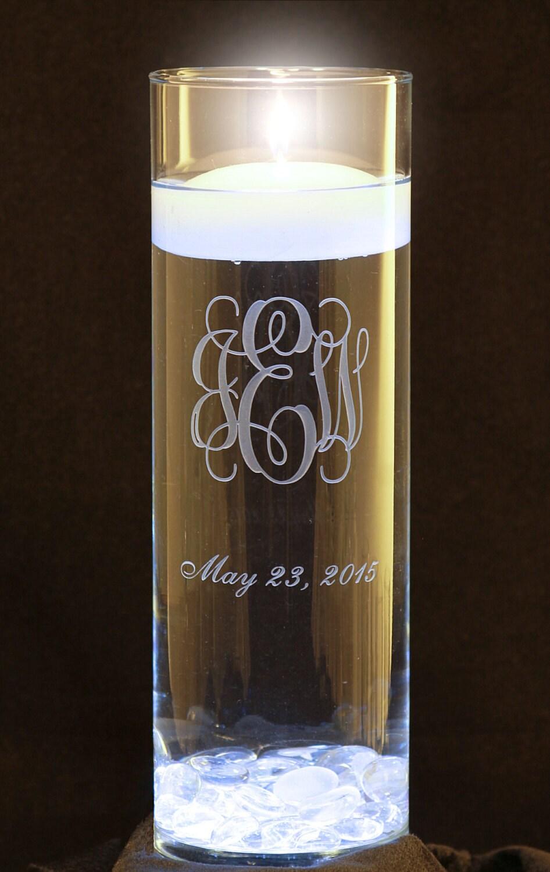 personalized 3 letter monogram wedding floating unity candle