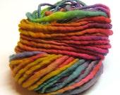 Handspun and handpainted rainbow yarn in merino wool - 50 yards and 2.3 ounces/ 65 grams