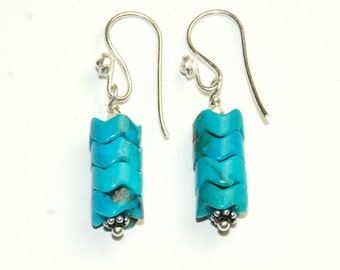 Genuine Turquoise Earrings -  December Birthstone - Blue Earrings - Southwestern