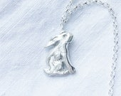 Fine silver individually handmade sitting hare necklace