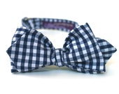 Men's Bow Tie - Navy Blue Mini Gingham - Diamond Point Tip - Adjustable