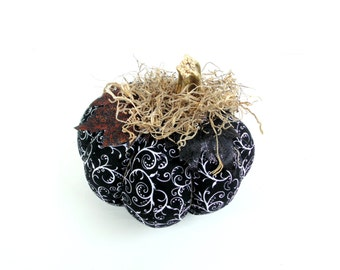 Fabric pumpkin, black and white Halloween Autumn fall Thanksgiving harvest decoration, real pumpkin stem country chic