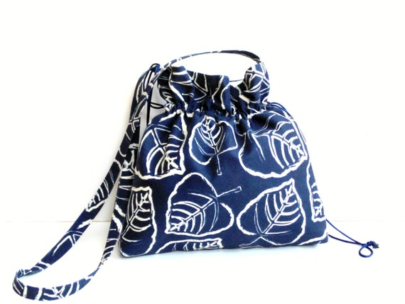 Tote bag, navy and white, cross body bag, shoulder bag, tote bag, screen printed leaves, canvas bag, pocket book, medium messenger bag