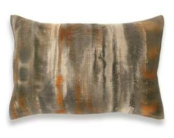 Rust Orange Charcoal Khaki Beige Decorative Lumbar Pillow Cover 12x18 inch Natural Linen One Of A Kind