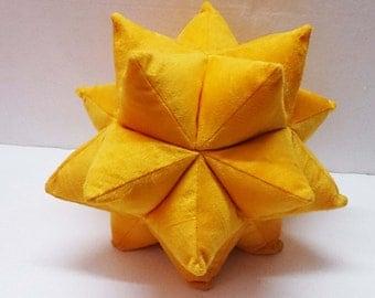 golden yellow origami twinkle star pillow-nursery decor - triangle patchwork pillow-velvet cushion-fun pillow -modern home decor pillow