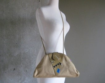 80s VINTAGE Very Special Things tan canvas leather hand painted purse cross body
