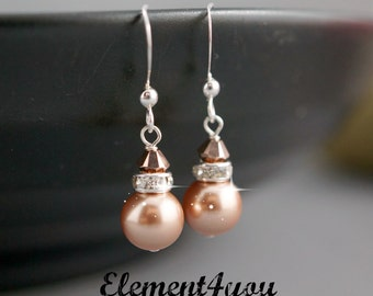 Rose gold bridesmaid jewelry pearl earrings Swarovski crystal Silver dangle earrings, Sterling silver gift., Bridal party gift, Attendee.