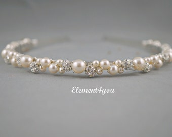 Swarovski Pearls rhinestone Balls Bridal Tiara Headband White or Ivory Beaded Silver Metal Hair Bridesmaid Wedding accessories Hair piece